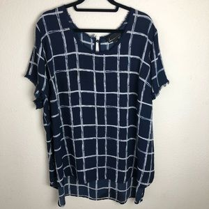 Lane Bryant navy check plaid blouse size 26/28